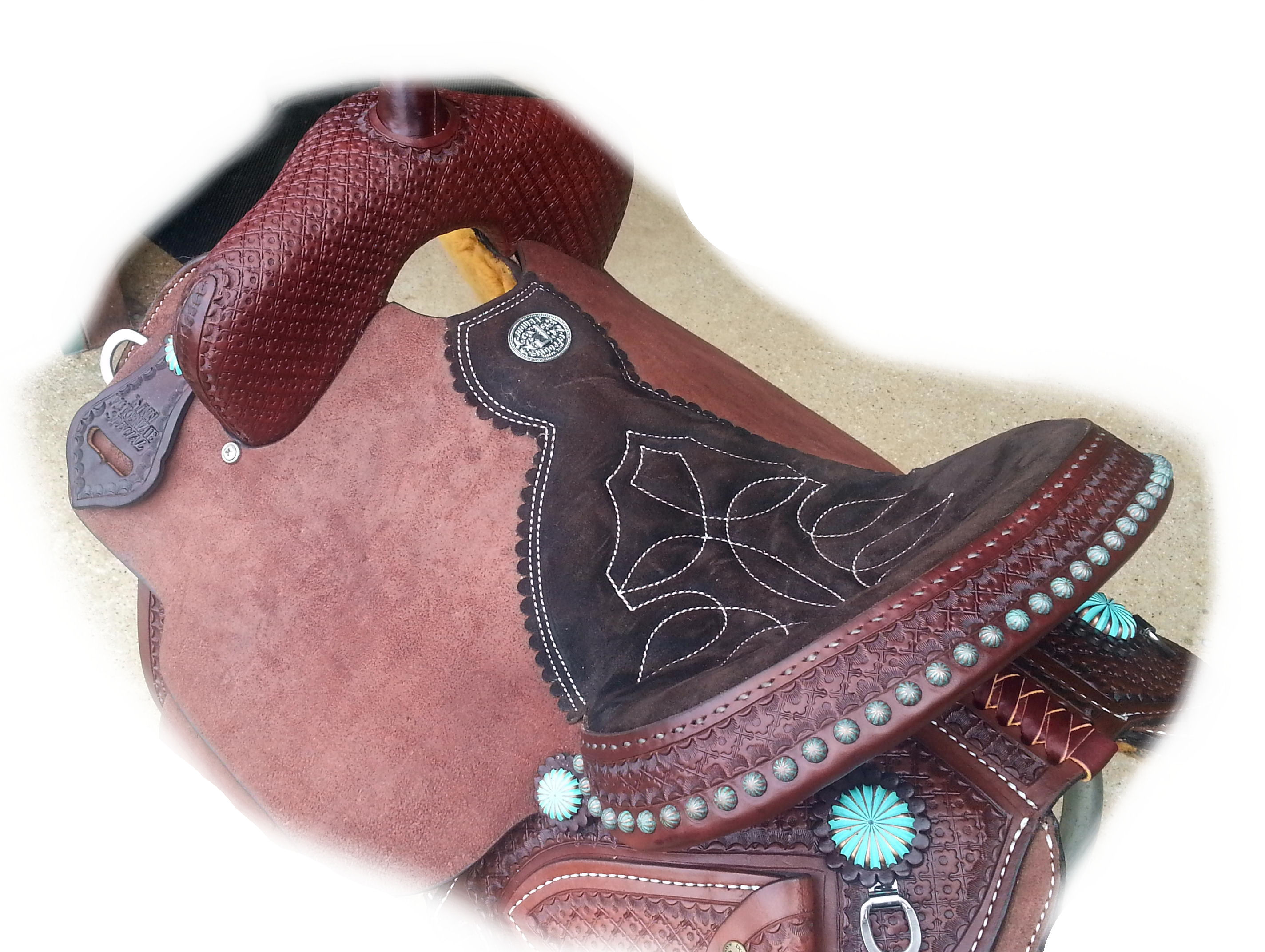 LM Special. Brown leather, Patina dots, Turq. parachute conchos. Seat view